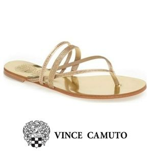 89671502fb0852 Vince Camuto Evora Gold Rhinestone Sandals 10M